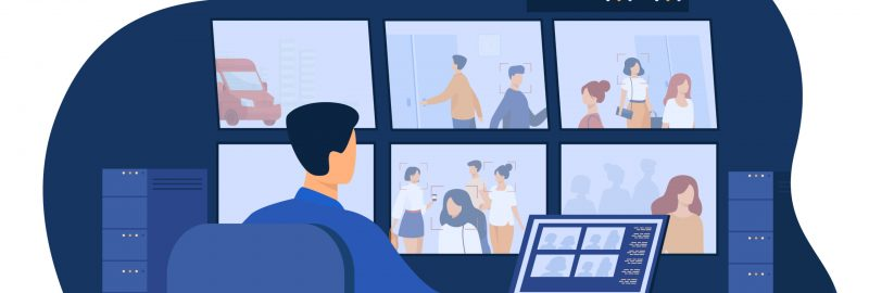 Guard service man sitting at control panel, watching surveillance camera videos on monitors in CCTV control room. Vector illustration for security system worker, spying, supervision concept